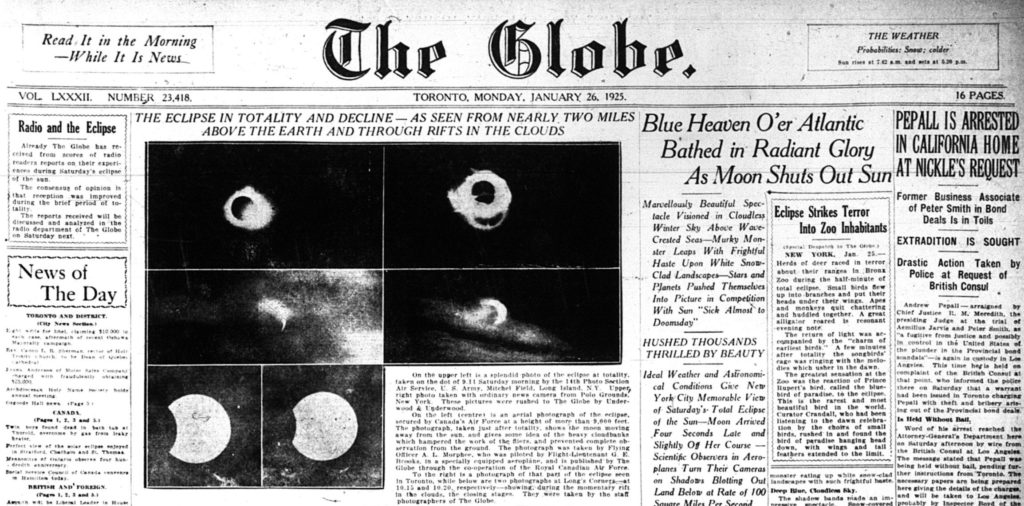 Front Page of Globe Eclipse Toronto Monday Jan 26 1925 - Banner